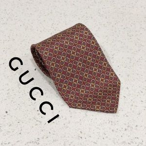 Gucci Burgundy Gold Chainlink Horsebit Silk Tie